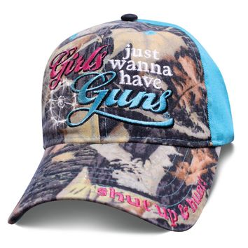 Womens 2nd Amendment Hat in Camo and Teal GIRLS JUST WANNA HAVE GUNS Baseball Cap