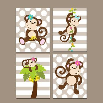 Girl Monkey Wall Art,Monkey Theme Decor,Baby Girl Nursery Decor,Monkey Bedroom Pictures,Sister Bathroom Decor,Canvas or Prints,Set of 4