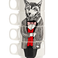 Mr Wolf Coffee Cup Set, Jimbob Art. Shop more from the Jimbob Art collection online at Liberty.co.uk
