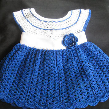 Baby Girl's Dress Crocheted Cotton Blue and by ButterflyKissesLLC