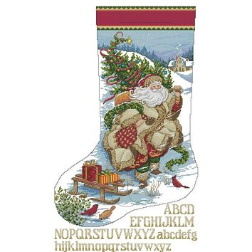 Top Quality Beautiful Lovely Counted Cross Stitch Kit Christmas Stocking Nicholas Santa Father Gift dim 08752