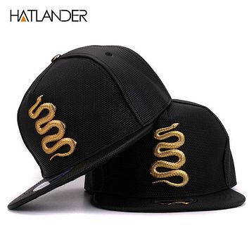 Women Leather Baseball Caps Daft Rapper Rock Snap back Cap Flat Hats Jazz Golden Snake Punk Black Hip Hop Caps For Men