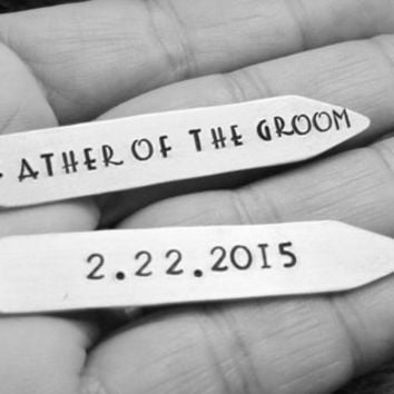 Personalized Collar Stays Gift for Dad Groomsmen Gift Father of the Groom Father of the Bride Aluminum Silver Metal Hand Stamped Custom