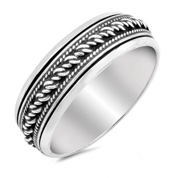 Sterling Silver Women's Ring Bali Spinner 7MM