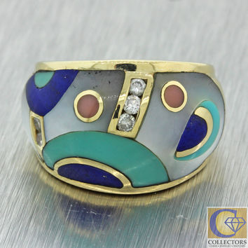 Asch Grossbardt 14k Solid Yellow Gold Turquoise Mother of Pearl Diamond Ring