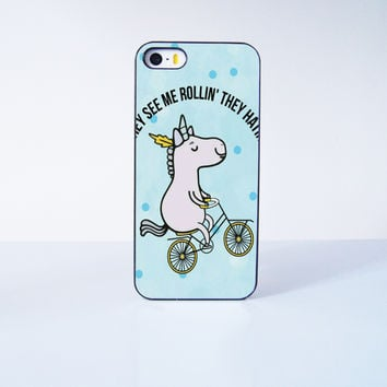 Cute Unicorn Ride Bicycle  Plastic Case Cover for Apple iPhone 5s 5 6 Plus 6 4 4s  5c