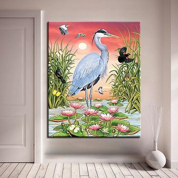 Animals DIY Painting By Numbers Coloring Grey Herons Birds On Canvas Home Decor Acrylic Lotus Oil Pictures Living Room Wall Art