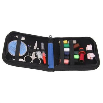 25pcs Travel Sewing Kit Needles Thread Scissors Set with Blue Zipper Bag Home Travel Campers Emergency Premium Gift