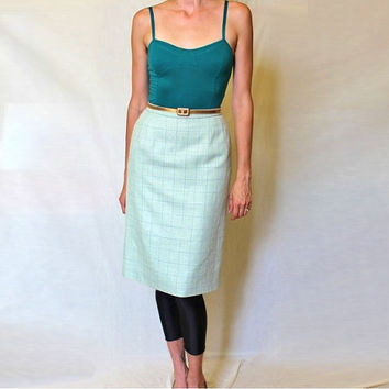 Vintage Pencil Skirt / 90s Pendleton Wool / Green Plaid / Petite XS/SM / Pockets