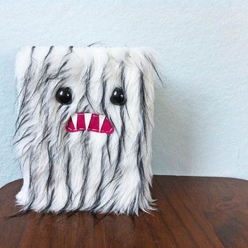 White & Black Striped Monster Journal by ShopGhoulieGirls on Etsy