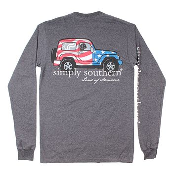 American Flag Truck Tee in Dark Heather Grey by Simply Southern
