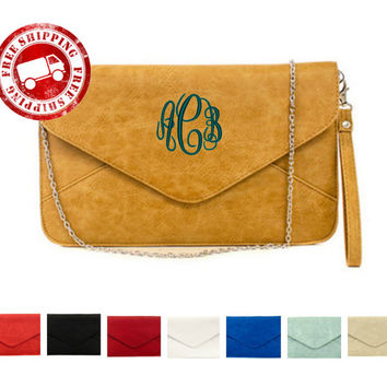 Personalized Leatherette Envelope Style 3 In 1 Clutch, Crossbody, Wristlet Sold In Sets of 4 and Up For Bridesmaids Gifts