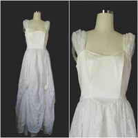 Vintage 1970s 1980s Cream Satin and Lace Gunne Sax Open Back Wedding  Party Dress size S