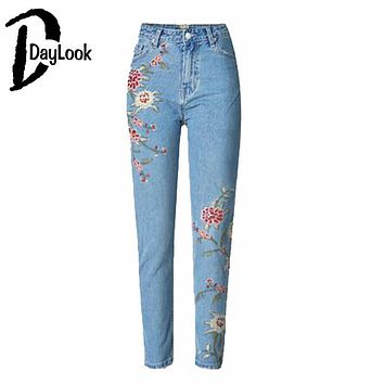 DayLook Women Denim Jeans Light Wash Floral Embroidery Print Skinny High Waist Pencil Pants 34-44 Sizes Sexy Denim Jeans Femme