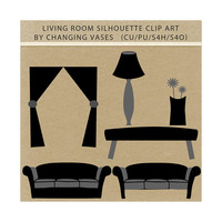 Black Silhouettes Living Room Clipart Clip Art Graphics, Family Room, Sofas, Chair, Table, Flower, Window, Lamp, Artwork, Scrapbook Elements