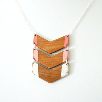 Hand-Painted Wooden Colorblock Chevron Necklace in Coral - MADE TO ORDER