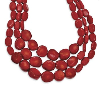 Sterling Silver Red Coral w/2in ext Triple Strand Necklace QH5307