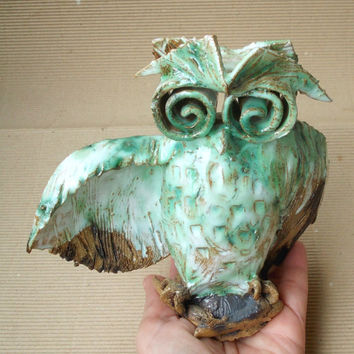 Cute wise owl , home decor Owl Ceramic Sculpture,  fan art. Ceramic  Owl.  Symbol of wisdom.