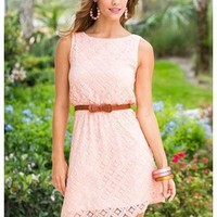 SLEEVELESS CROCHET LACE BELTED DRESS