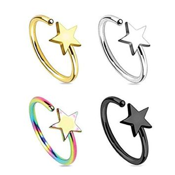 BodyJ4You 4 PCS Piercing Ring Star Nose Ring Surgical Steel Multi-Color 10mm Nose Ring Piercing Set 18G