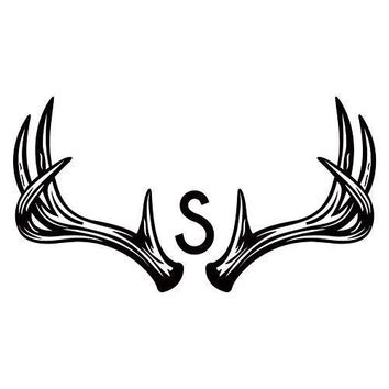 Woodland Pretty Personalized Monogram Antler Textured Rubber Stamp (Pack of 1)