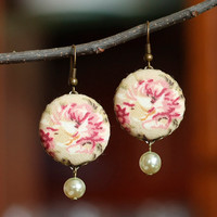 Dangle Earrings - Antique Roses with Pearls - Pink Beige Tan and Green Romantic Fabric Covered Buttons Earrings
