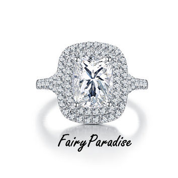 Art Deco 3 Ct Radiant Cut Double Halo Engagement Ring / Promise Rings , Lab Made Diamond, Split Shank ( FairyParadise )