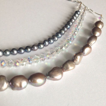 Silver Crystal Necklace - Crystal & Silver Pearl Necklace
