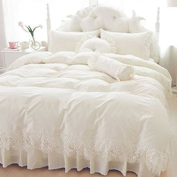 Wedding lace bedspread princess bedding sets queen king size 4/6pcs Girls Ruffles duvet cover bed skirt bedclothes cotton