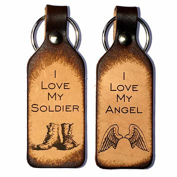 I Love My Angel & I Love My Soldier Leather Keychains