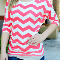 WORTH THE TRIP CHEVRON TOP IN CORAL