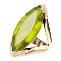 Forzieri Designer Rings Green Gemstone and Diamond Yellow Gold Fashion Ring