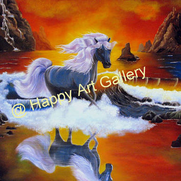 Horse seascape Water Waves Fantasy Beach Sunset Mountains red yellow blue orange - Original Acrylic Painting on Canvas Print Free shipping