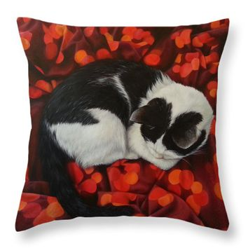 "The bed is hers Throw Pillow for Sale by Kathleen Wong - 14"" x 14"""