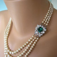 Emerald Necklace, Statement Necklace, Pearl Necklace, Great Gatsby Jewelry, Pearl Choker, Bridal Jewelry, Mother Of The Bride Vintage Bridal