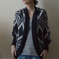 Brigitte Bailey Open Front Aztec Print Knitted Geometric Monochrome Boho Cardigan Sweater