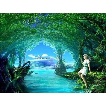5D Diamond Painting Girl By the Tree Hidden Stream Kit