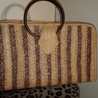 Vintage Sims Handbags Wooden & Straw Like Resort Style Purse Rockabilly Pin Up