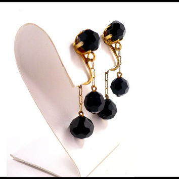 Vintage Black Crystal & Gold Chain Earrings, Front and Back Crystal Dangle, Boho Style, Little Black Dress LBD, Gift For Her