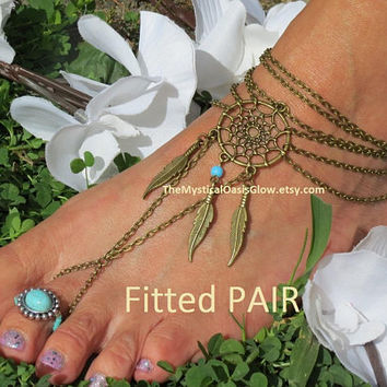 Feather jewelry womens Barefoot Sandals, Ethnic wedding, boho foot chain anklet, Tribal Unity, Statement slave anklets, dream catcher anklet