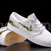 Nike SB Janoski Light Base Grey Blue Gold Metallic Musical Note Print Custom Men