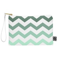 Shannon Clark Mint Chevron Stripes Pouch