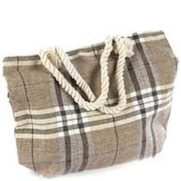 Large Plaid Beach Tote Bag Brown Browns  Handbag Purse  17""