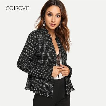 Trendy COLROVIE Black Solid Zip Up Elegant Tweed Peplum Plaid Basic Jacket Women 2018 Autumn Female Coats Women Office Lady Outwear AT_94_13