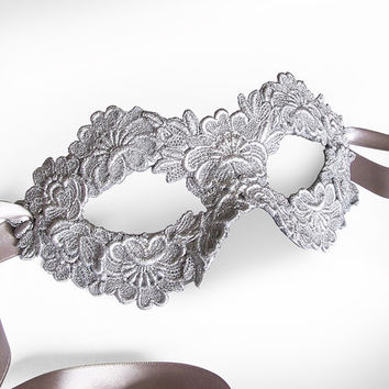 Silver Embroidery Masquerade Mask -  Lace Applique Covered Venetian Mask