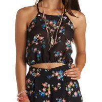 Floral Print Strappy Halter Crop Top by Charlotte Russe - Blue Combo