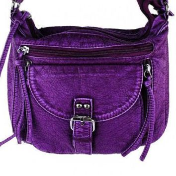 Purple Soft Tooled Leather Stone Concho Cross Body Bag