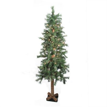 7' Pre-Lit Woodland Alpine Artificial Christmas Tree - Clear Lights