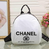 CHANEL Fashion Women Print College Canvas Satchel Bookbag Backpack White I-XS-PJ-BB