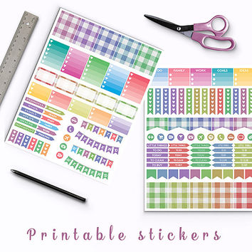 50% OFF Linen Gingham Planner Stickers Printable Stickers Heart Checklist Weekly Kit Box Stickers Page Flags Weekend Banners To Do Stickers